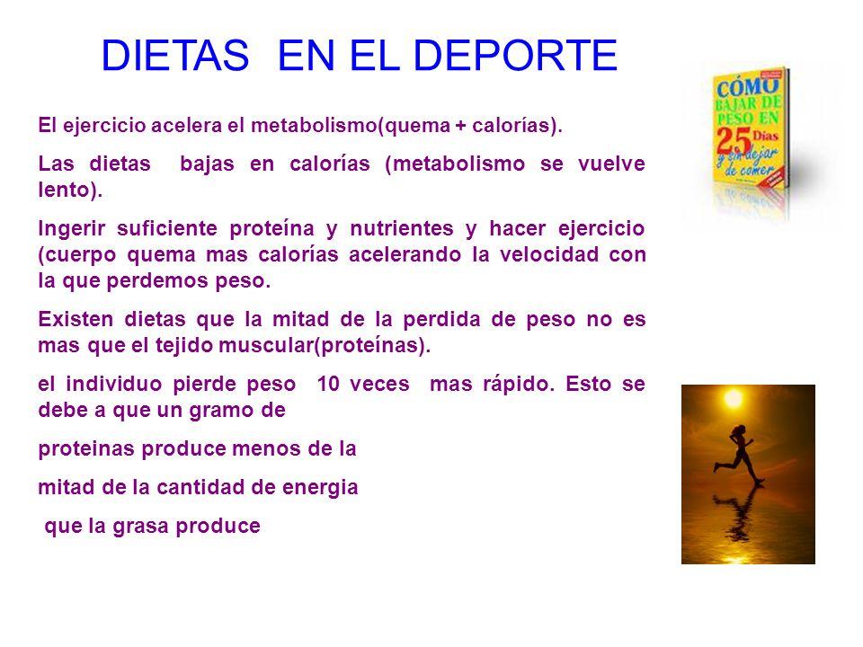 DIETAS EN EL DEPORTEEl ejercicio acelera el metabolismo(quema + calorías). Las dietas bajas en calorías (metabolismo se vuelve lento).