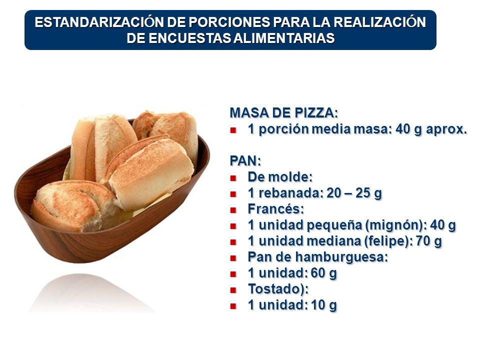 1 porción media masa: 40 g aprox. PAN: De molde: 1 rebanada: 20 – 25 g