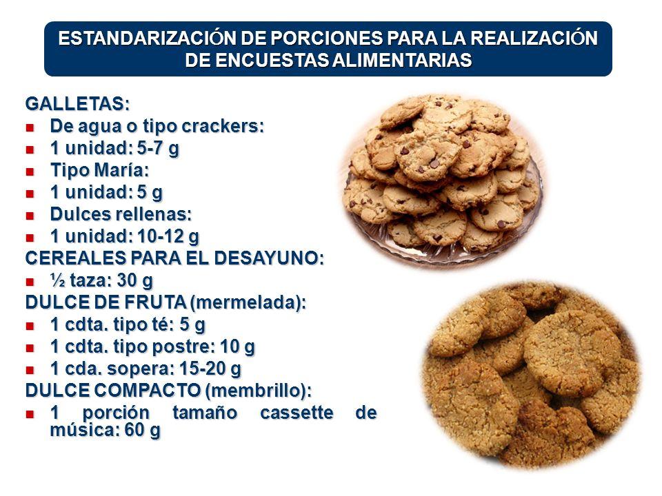 ESTANDARIZACIÓN DE PORCIONES PARA LA REALIZACIÓN DE ENCUESTAS ALIMENTARIAS