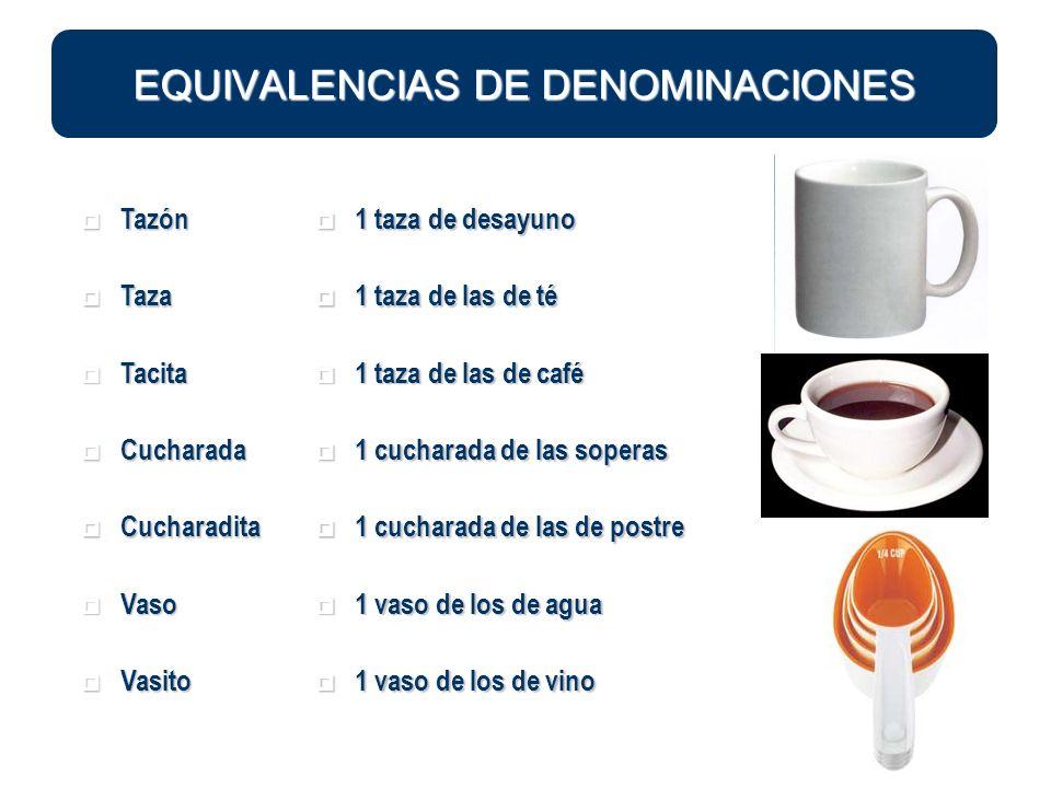EQUIVALENCIAS DE DENOMINACIONES