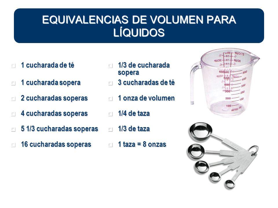EQUIVALENCIAS DE VOLUMEN PARA LÍQUIDOS