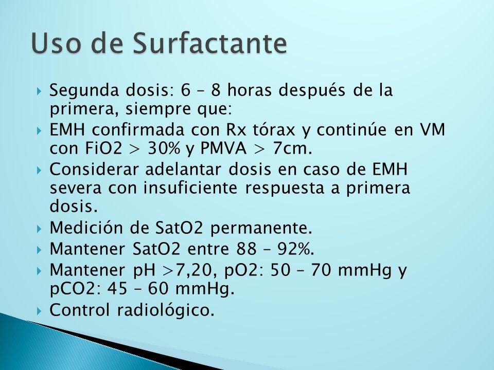 Uso de SurfactanteSegunda dosis: 6 – 8 horas después de la primera, siempre que: