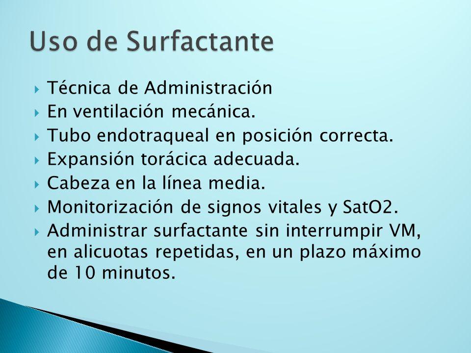 Uso de Surfactante Técnica de Administración En ventilación mecánica.