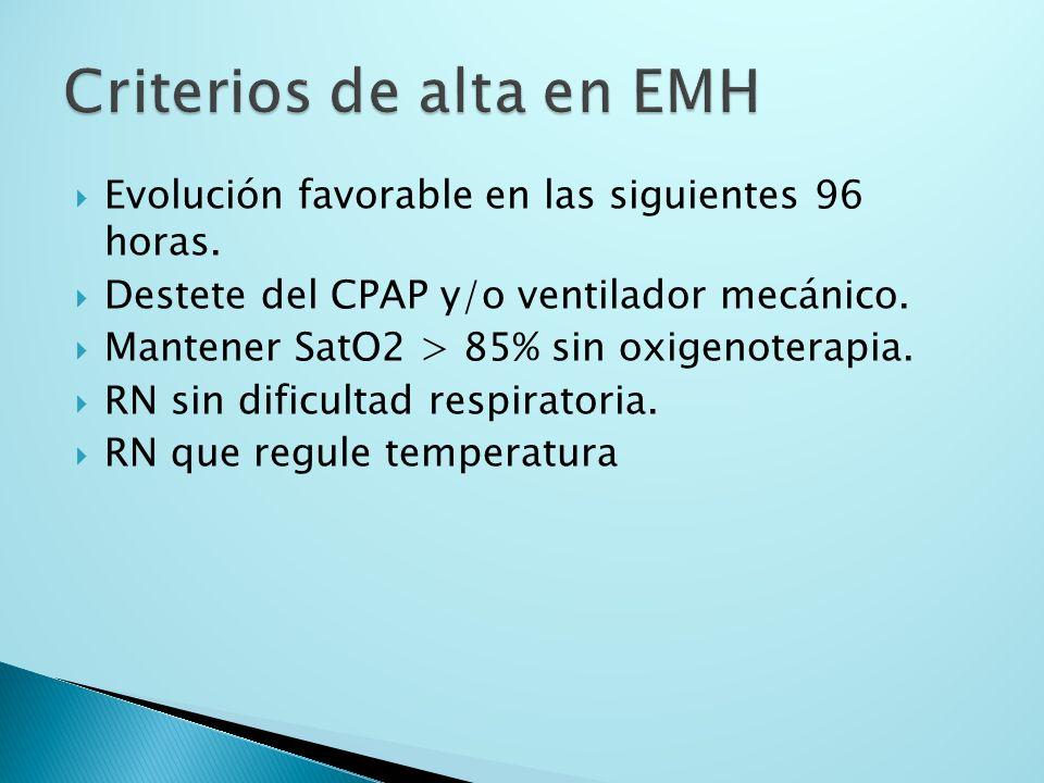 Criterios de alta en EMH