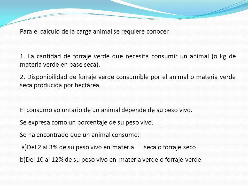 Para el cálculo de la carga animal se requiere conocer
