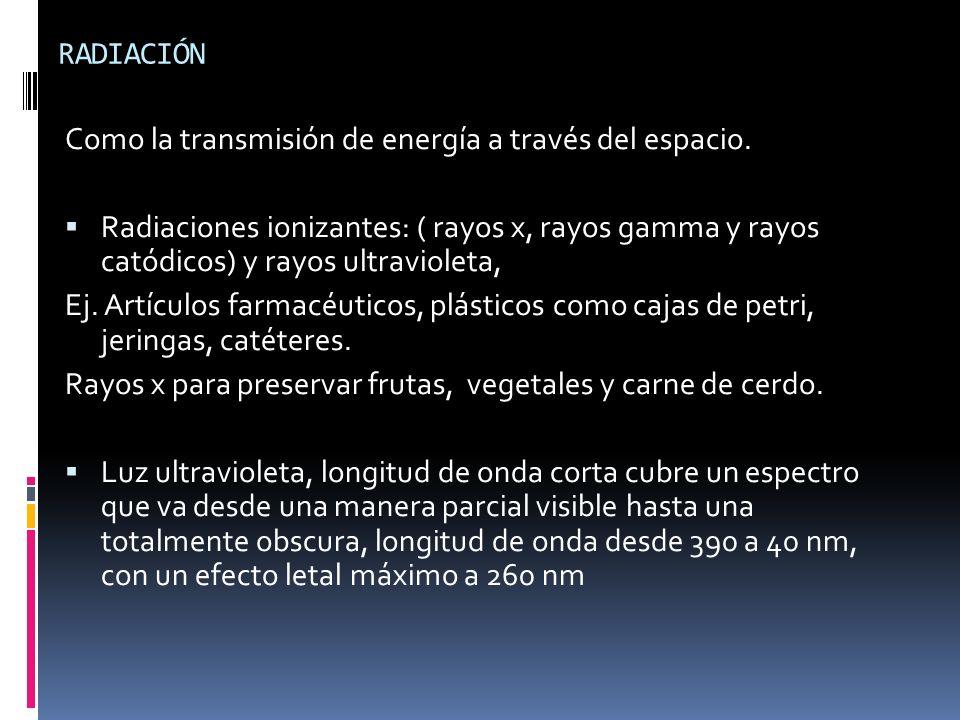 RADIACIÓN Como la transmisión de energía a través del espacio.