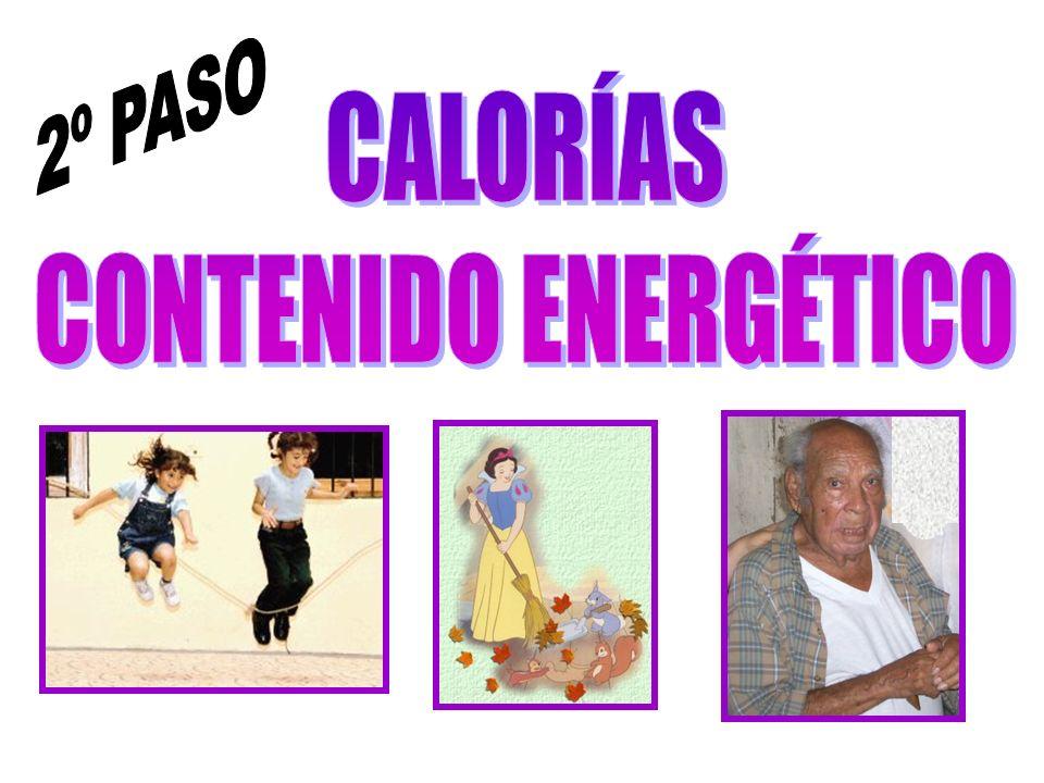 2º PASO CALORÍAS CONTENIDO ENERGÉTICO