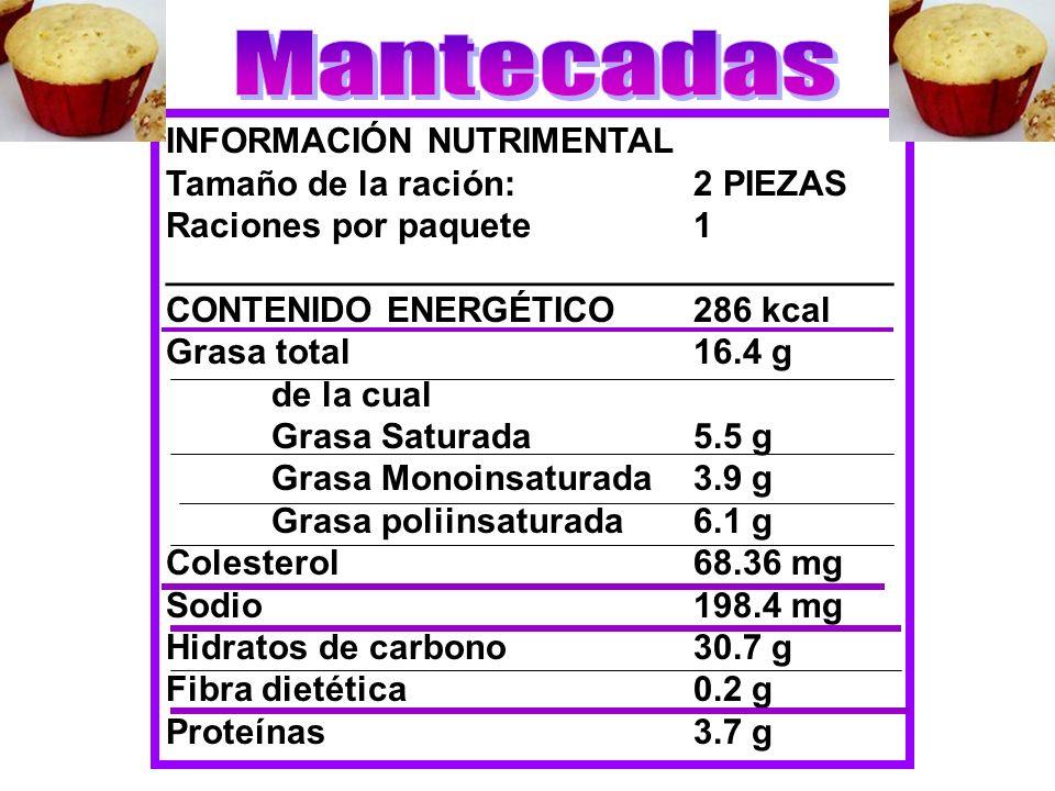 Mantecadas INFORMACIÓN NUTRIMENTAL Tamaño de la ración: 2 PIEZAS