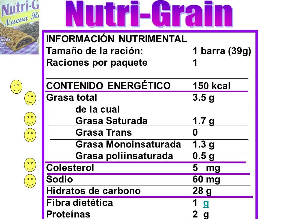 Nutri-Grain INFORMACIÓN NUTRIMENTAL Tamaño de la ración: 1 barra (39g)