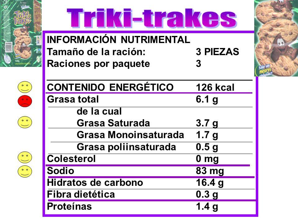 Triki-trakes INFORMACIÓN NUTRIMENTAL Tamaño de la ración: 3 PIEZAS