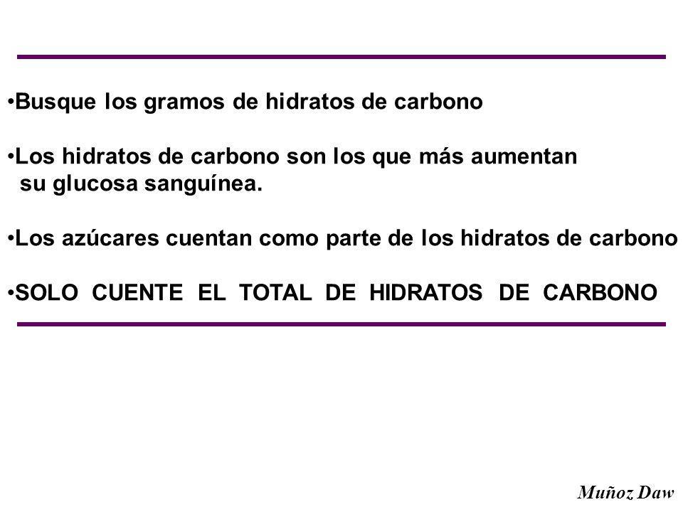 Busque los gramos de hidratos de carbono