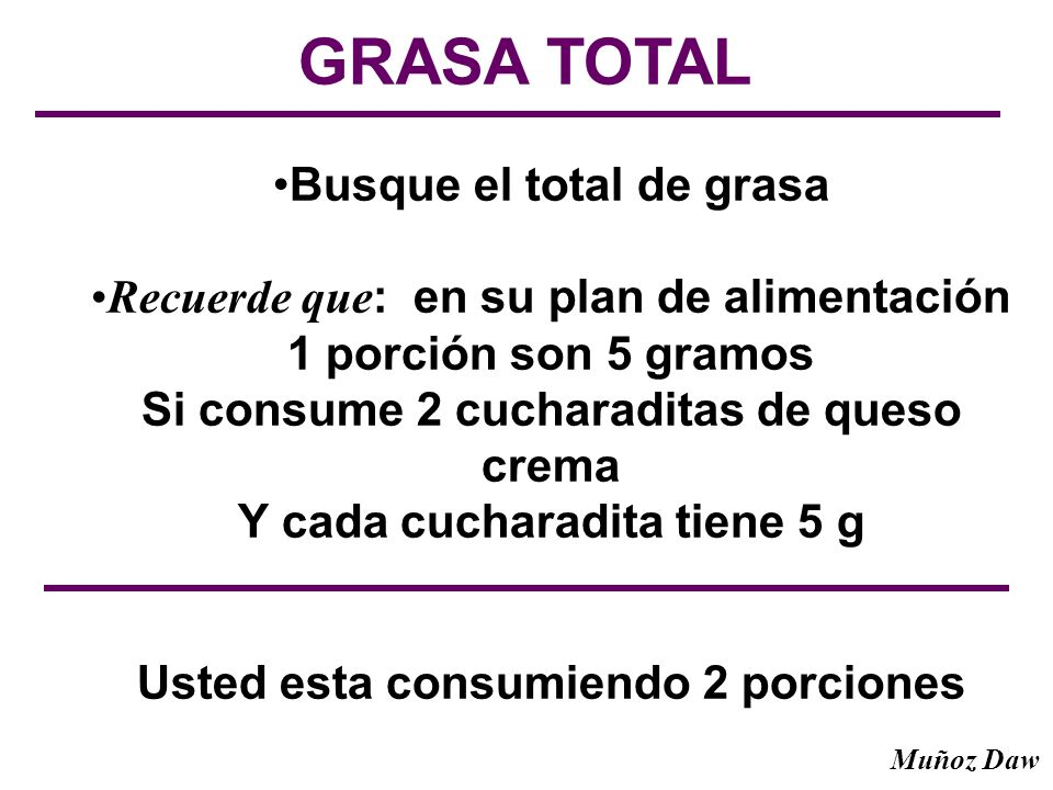 GRASA TOTAL Busque el total de grasa