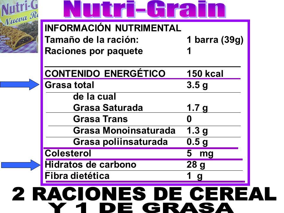 Nutri-Grain 2 RACIONES DE CEREAL Y 1 DE GRASA INFORMACIÓN NUTRIMENTAL
