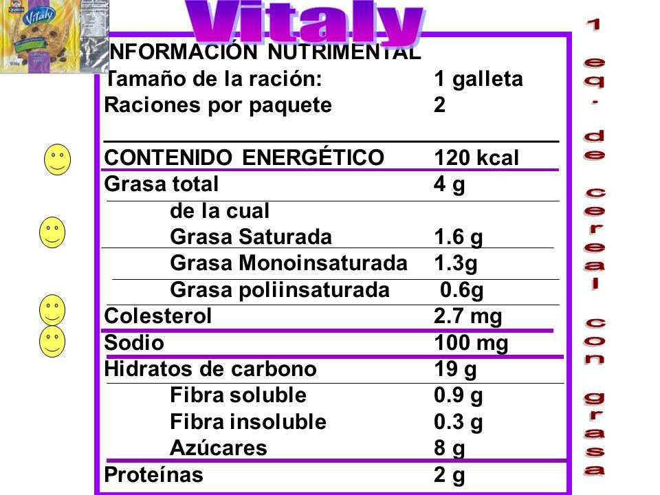 Vitaly 1 eq. de cereal con grasa INFORMACIÓN NUTRIMENTAL