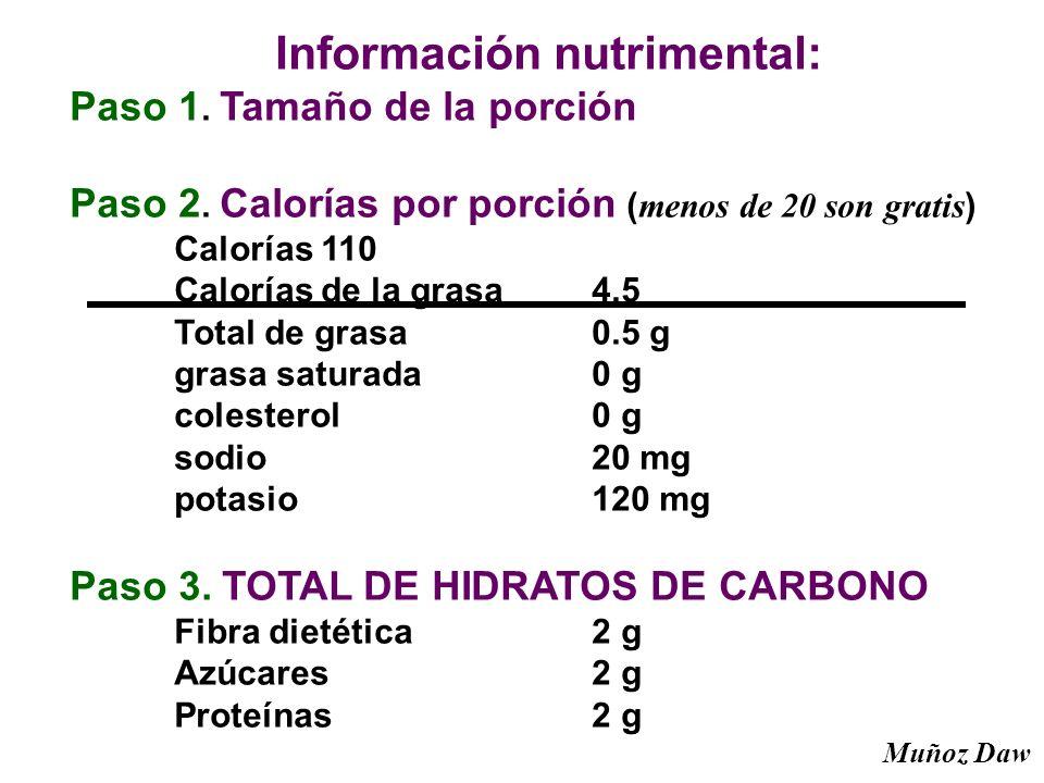 Información nutrimental: Paso 1. Tamaño de la porción