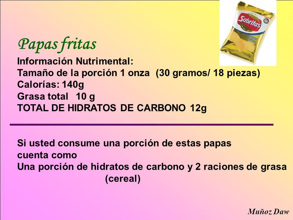 Papas fritas Información Nutrimental: