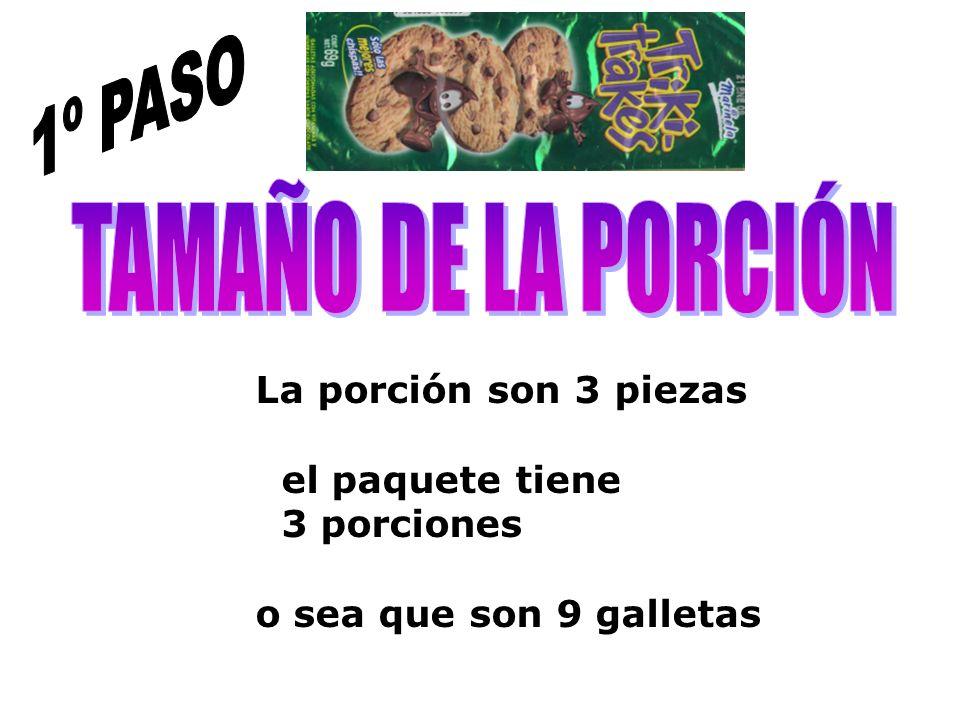1º PASO TAMAÑO DE LA PORCIÓN La porción son 3 piezas el paquete tiene