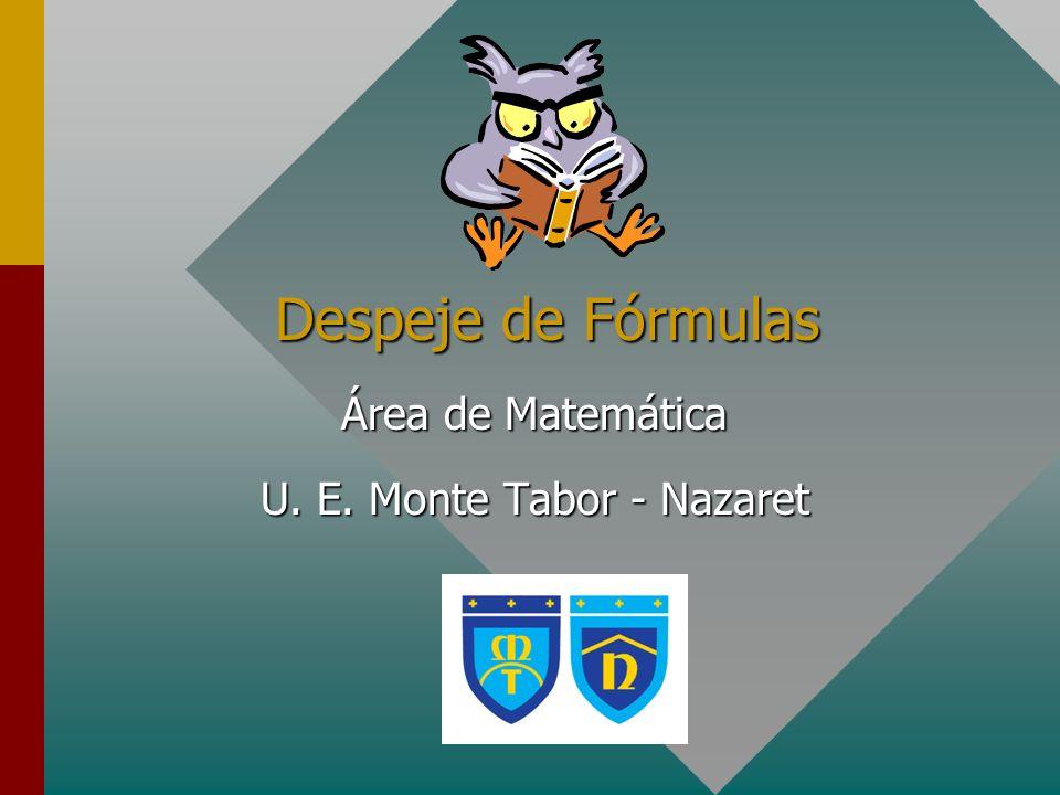 Área de Matemática U. E. Monte Tabor - Nazaret