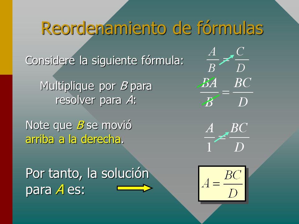 Reordenamiento de fórmulas