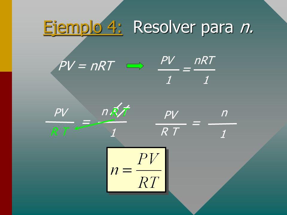 Ejemplo 4: Resolver para n.