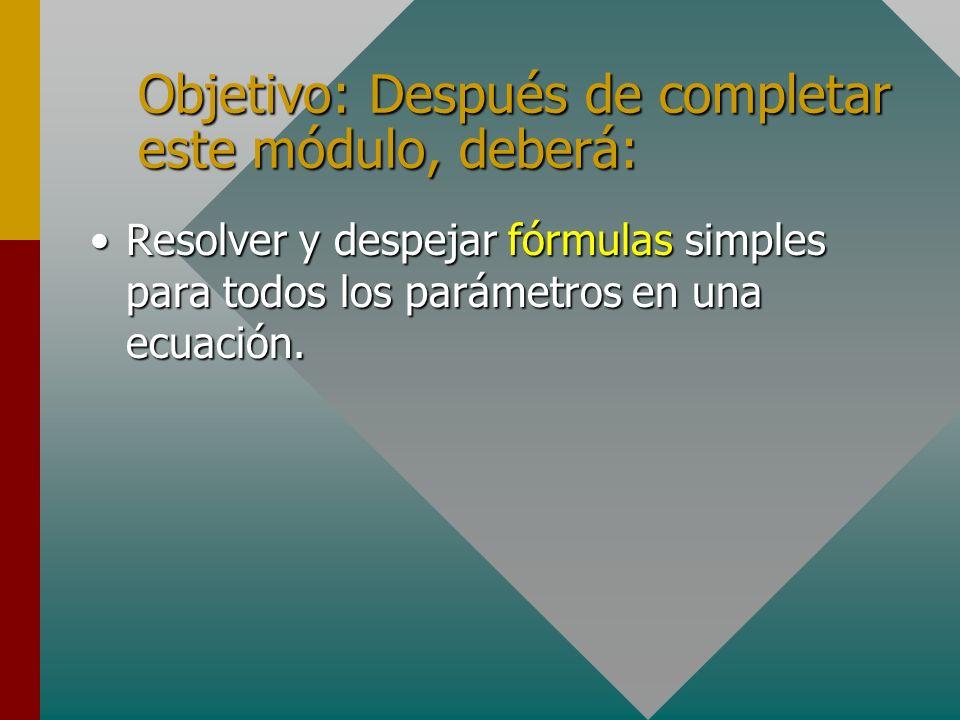 Objetivo: Después de completar este módulo, deberá: