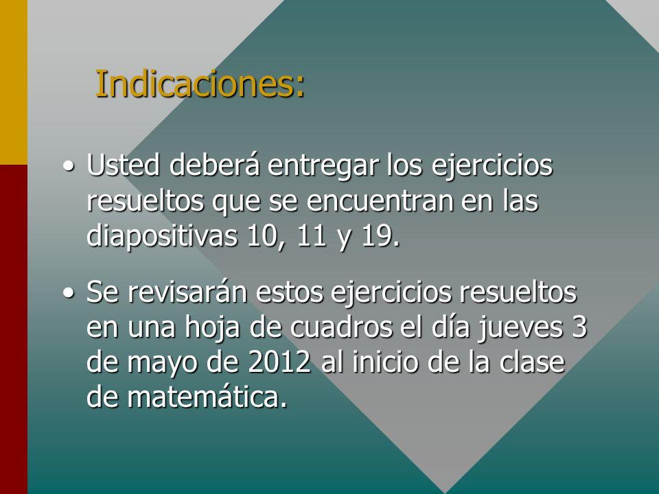 Indicaciones:Usted deberá entregar los ejercicios resueltos que se encuentran en las diapositivas 10, 11 y 19.