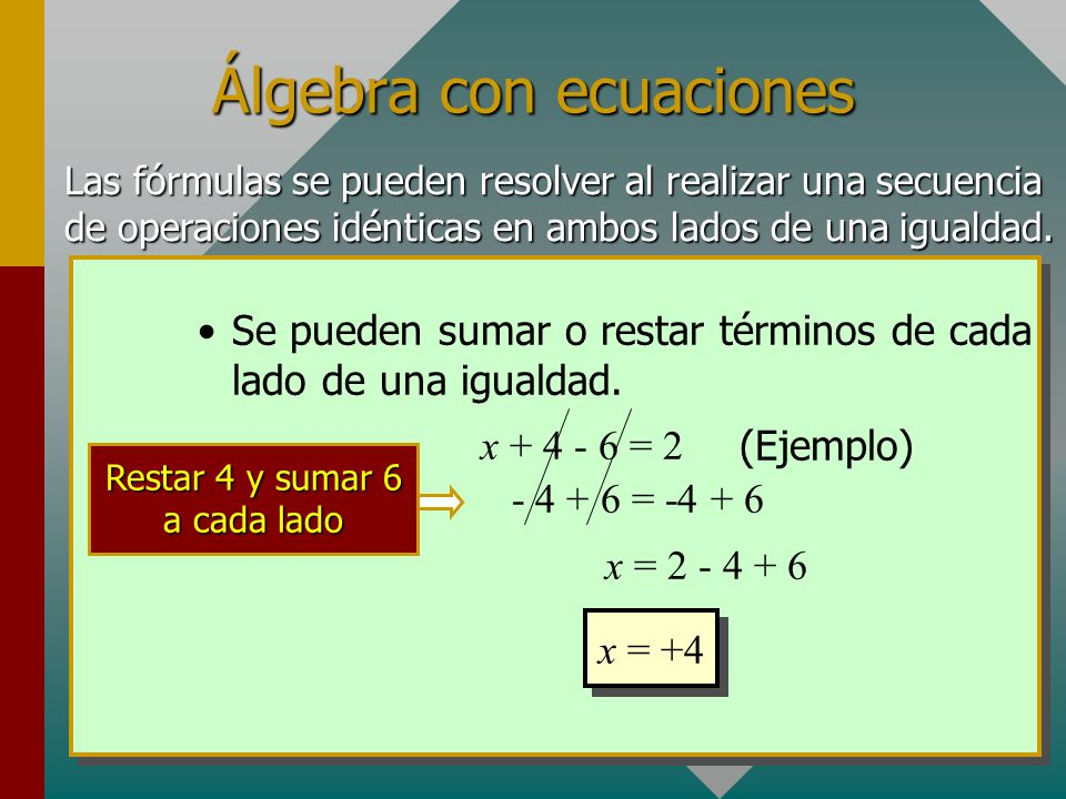 Álgebra con ecuaciones