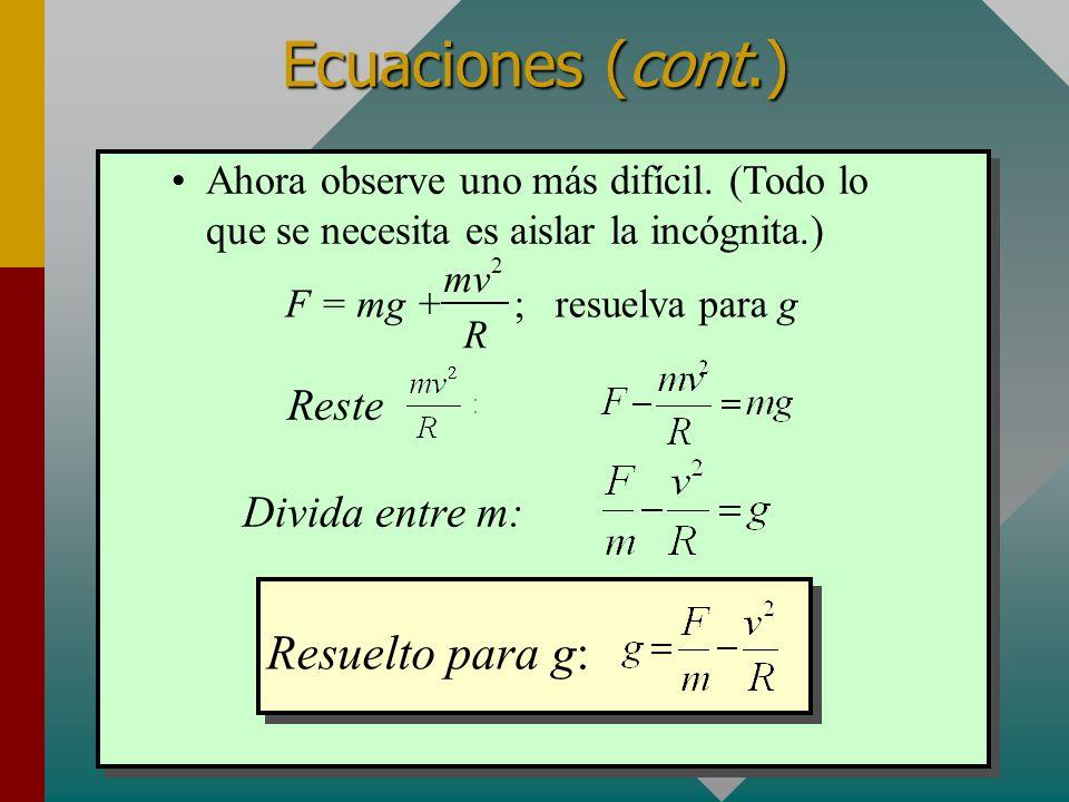 Ecuaciones (cont.) Resuelto para g: Reste Divida entre m: