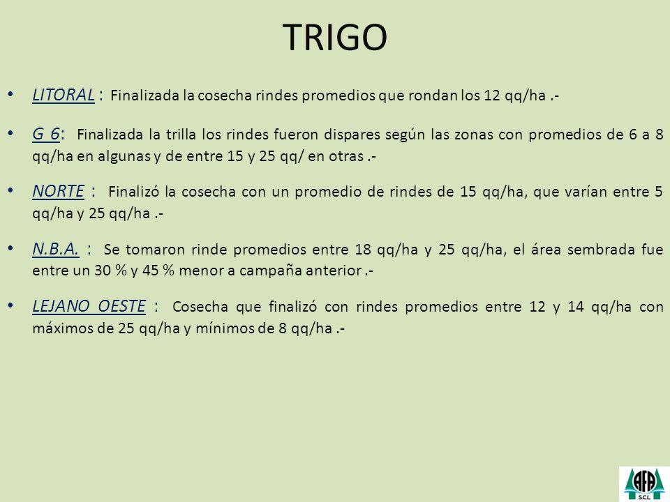 TRIGO LITORAL : Finalizada la cosecha rindes promedios que rondan los 12 qq/ha .-