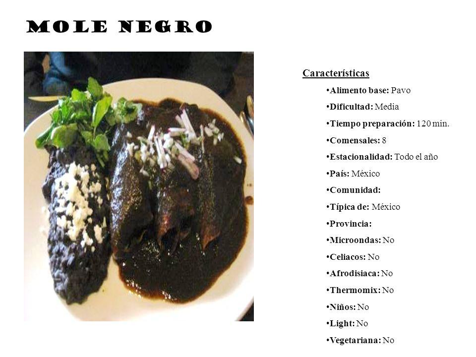 Mole negro Características Alimento base: Pavo Dificultad: Media
