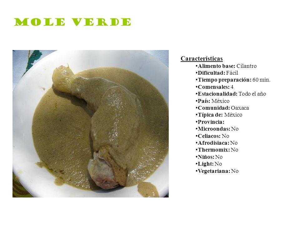 Mole verde Características Alimento base: Cilantro Dificultad: Fácil