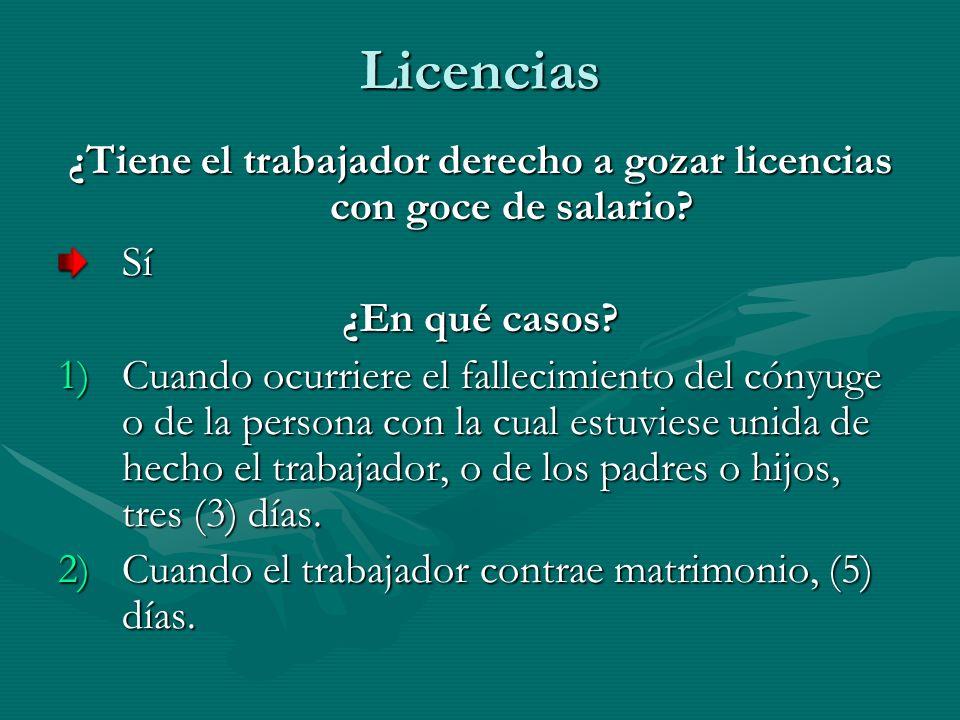 ¿Tiene el trabajador derecho a gozar licencias con goce de salario