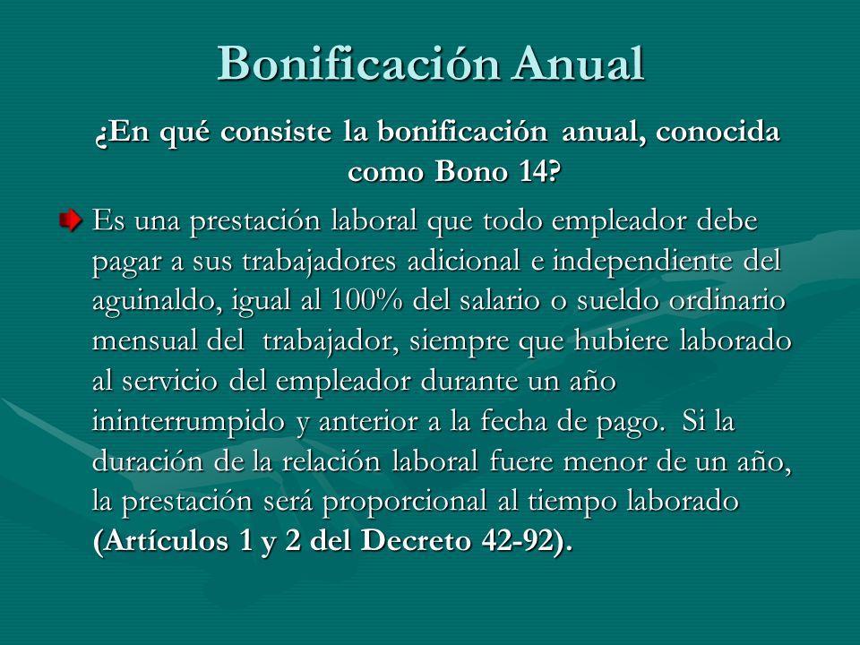 ¿En qué consiste la bonificación anual, conocida como Bono 14