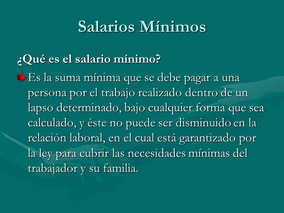 Salarios Mínimos ¿Qué es el salario mínimo