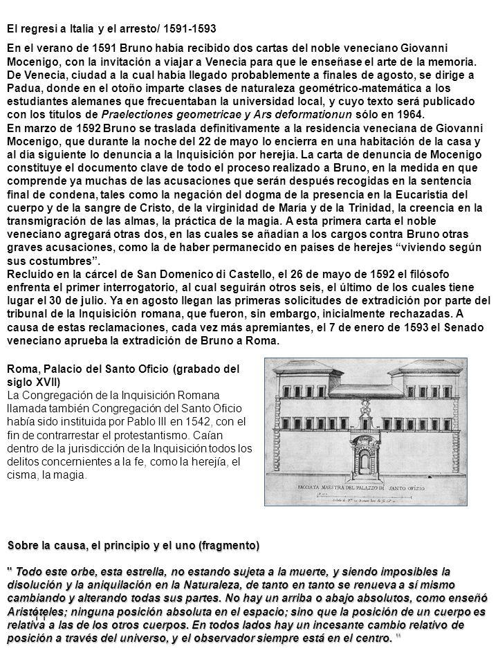 El regresi a Italia y el arresto/ 1591-1593