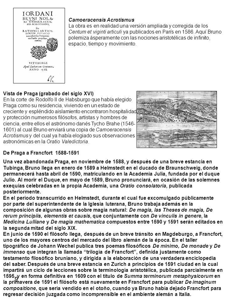 Camoeracensis Acrotismus La obra es en realidad una versión ampliada y corregida de los Centum et viginti articuli ya publicados en París en 1586. Aquí Bruno polemiza ásperamente con las nociones aristotélicas de infinito, espacio, tiempo y movimiento.