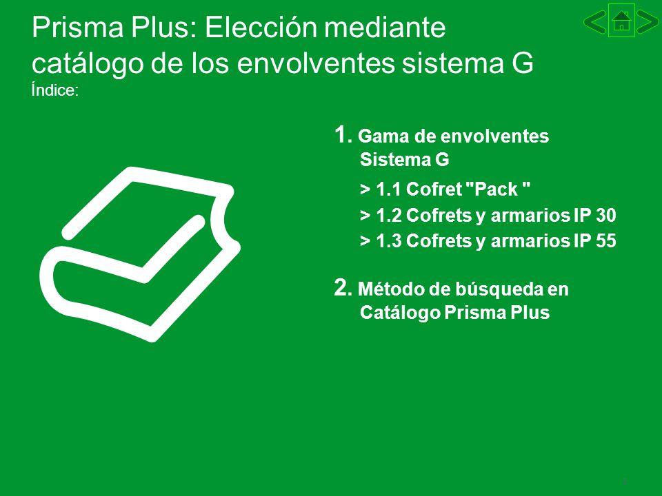 Prisma Plus: Elección mediante catálogo de los envolventes sistema G Índice: