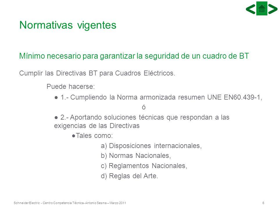 Normativas vigentesMínimo necesario para garantizar la seguridad de un cuadro de BT. Cumplir las Directivas BT para Cuadros Eléctricos.