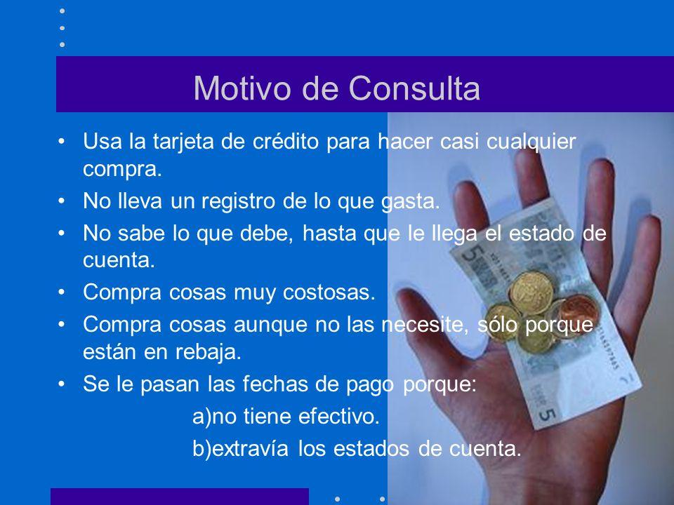 Motivo de Consulta Usa la tarjeta de crédito para hacer casi cualquier compra. No lleva un registro de lo que gasta.