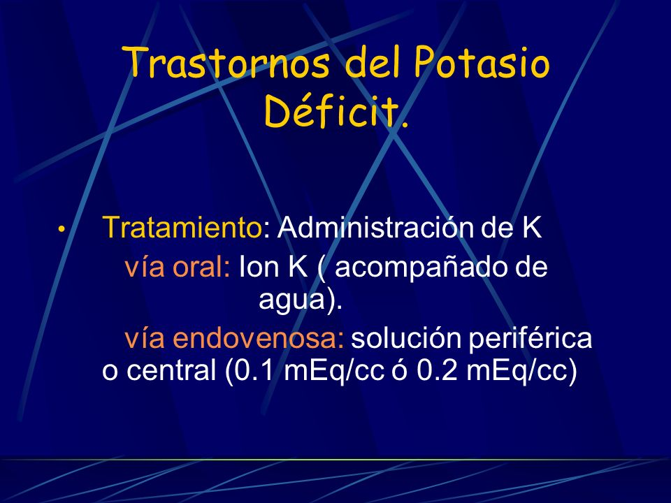 Trastornos del Potasio Déficit.
