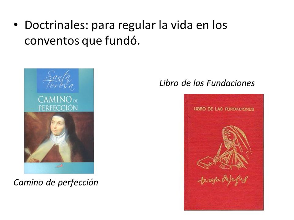 Doctrinales: para regular la vida en los conventos que fundó.