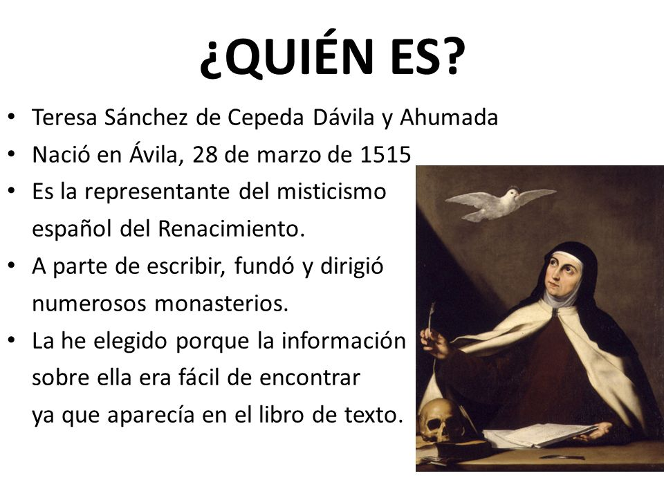¿QUIÉN ES Teresa Sánchez de Cepeda Dávila y Ahumada