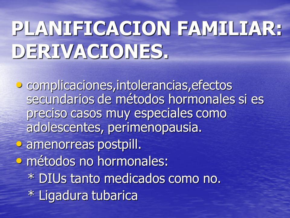 PLANIFICACION FAMILIAR: DERIVACIONES.