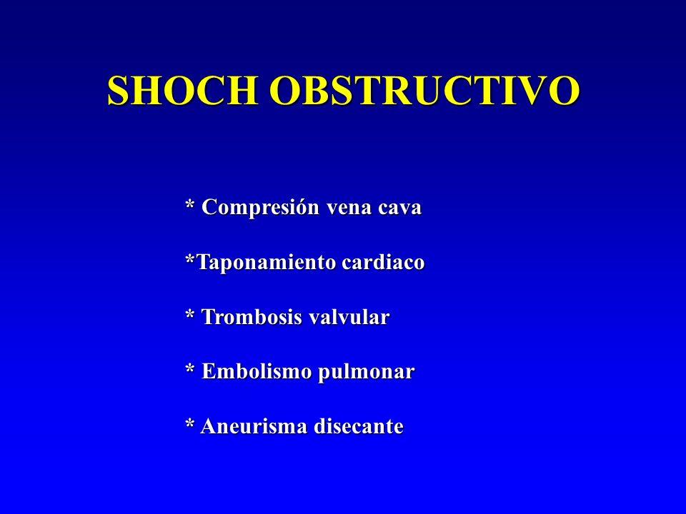 SHOCH OBSTRUCTIVO * Compresión vena cava *Taponamiento cardiaco