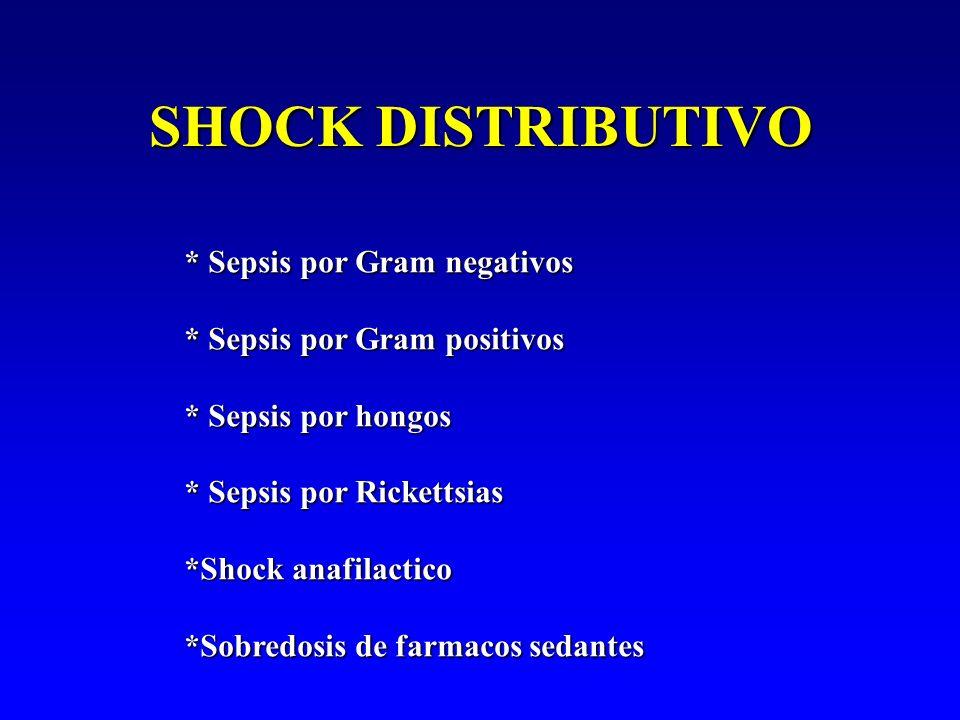 SHOCK DISTRIBUTIVO * Sepsis por Gram negativos