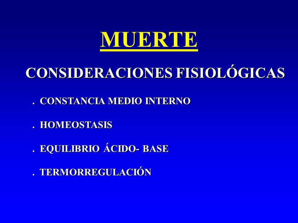 MUERTE CONSIDERACIONES FISIOLÓGICAS . CONSTANCIA MEDIO INTERNO