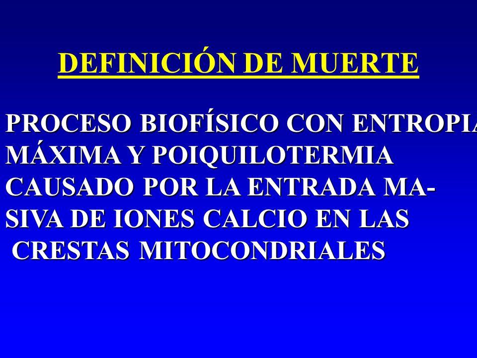 DEFINICIÓN DE MUERTEPROCESO BIOFÍSICO CON ENTROPIA MÁXIMA Y POIQUILOTERMIA. CAUSADO POR LA ENTRADA MA-