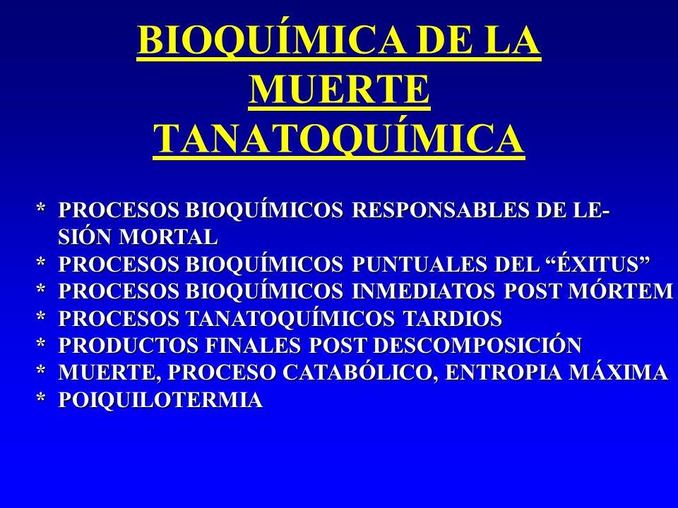 BIOQUÍMICA DE LA MUERTE TANATOQUÍMICA