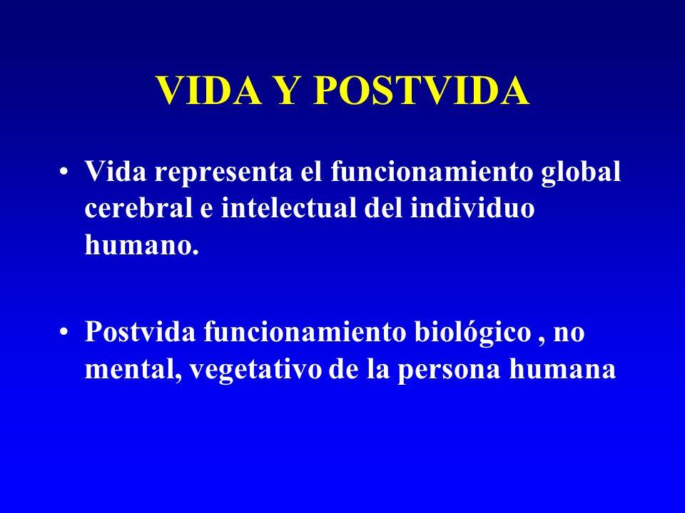 VIDA Y POSTVIDA Vida representa el funcionamiento global cerebral e intelectual del individuo humano.