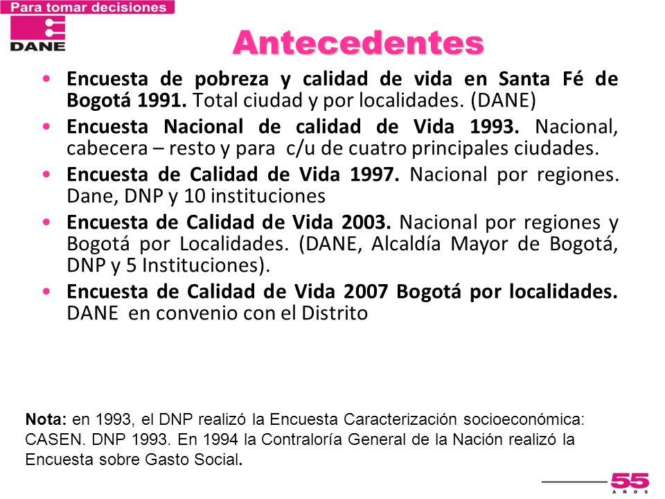 Antecedentes Encuesta de pobreza y calidad de vida en Santa Fé de Bogotá 1991. Total ciudad y por localidades. (DANE)